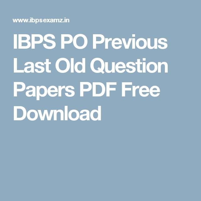 Ibps Po Previous Paper Pdf