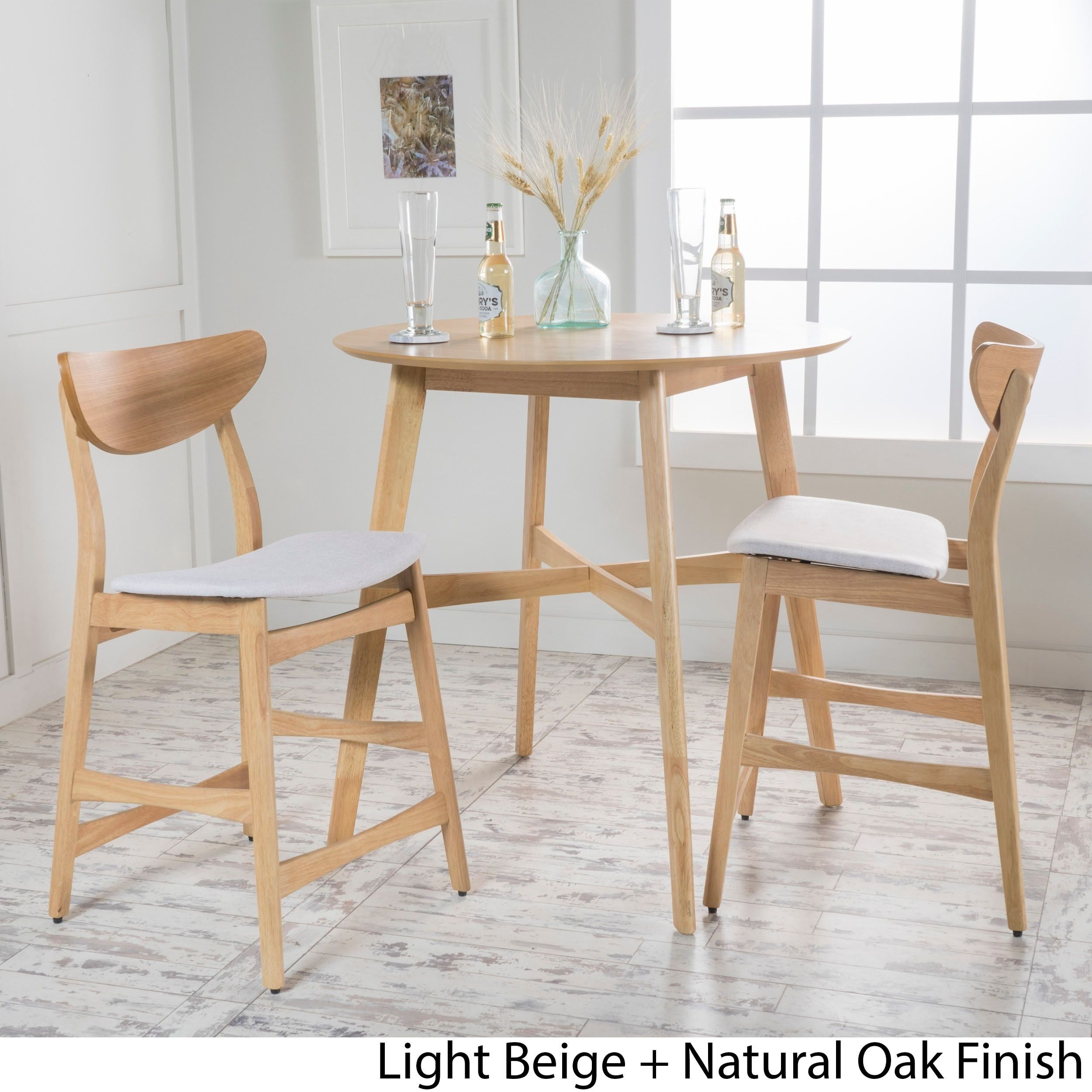Gavin 3 piece Wood Counter height Round Dining Set by Christopher