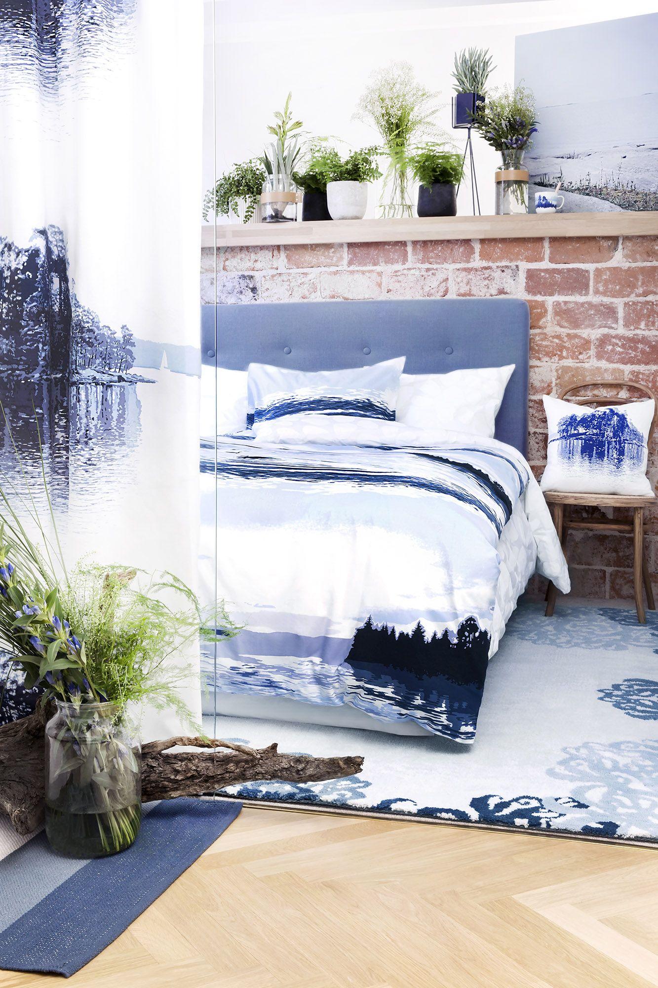 Lapintaika bed set and Merellä curtain and cushion by Riina Kuikka, Matilda rug Tanja Orsjoki