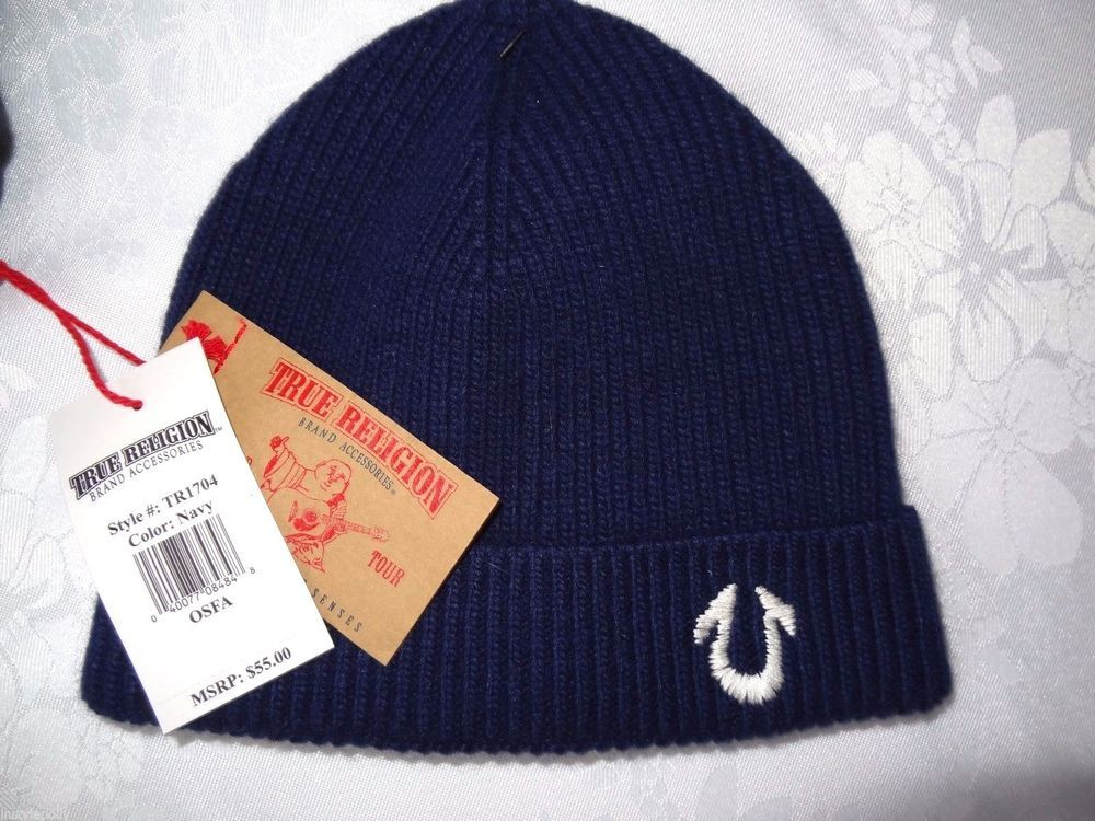 True Religion Mens Ribbed Knit Beanie Hat Navy Cashmere Blend NEW   TrueReligion  Beanie 6fc99645f466