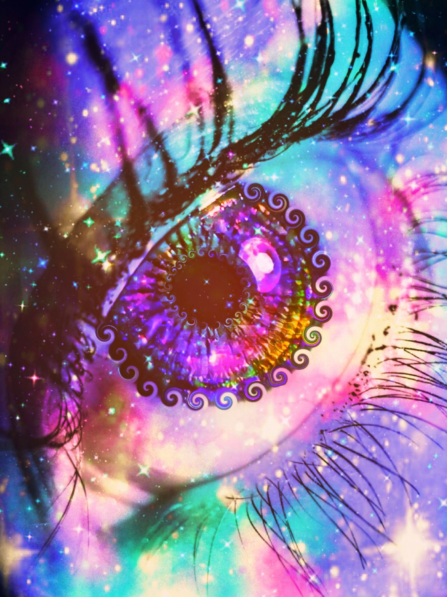 Wallpaper Lockscreen Glitter Sparkle Colorful Galaxy Eye Shimmer Stars Rainbo Pink Polka Dots Wallpaper Iphone Wallpaper Tumblr Aesthetic Galaxy Eyes