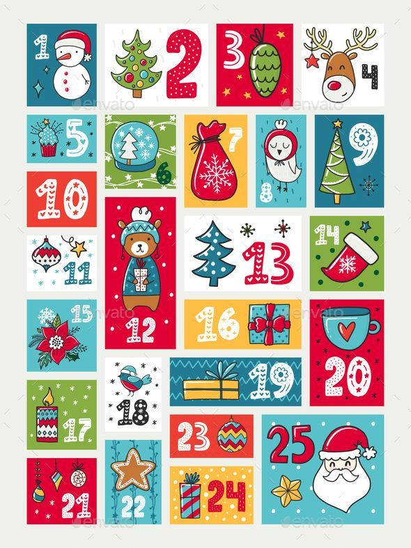 Vector Advent calendar. Illustration with decorations and ...