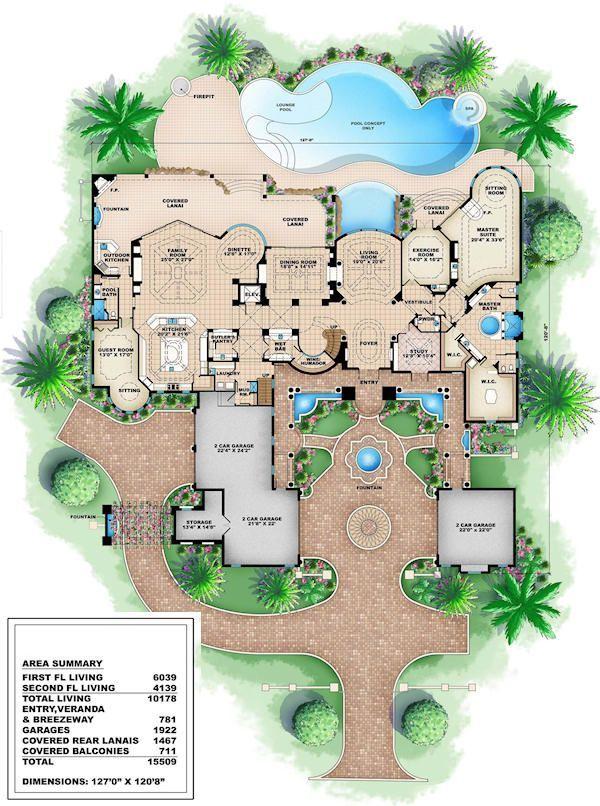 Mediterranean Style House Plan 6 Beds 8 5 Baths 10178 Sq Ft Plan 27 279 Luxury Floor Plans Mansion Floor Plan Custom Home Plans