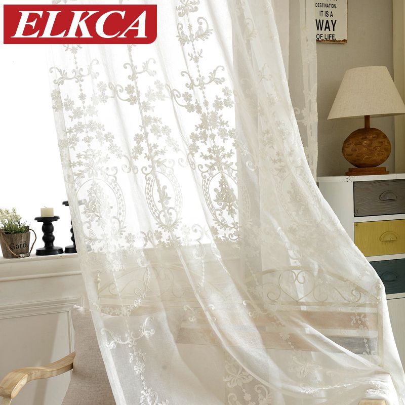 European White Embroidered Voile Curtains Bedroom Sheer Curtains For Living  Room Tulle Window Curtains/Panels
