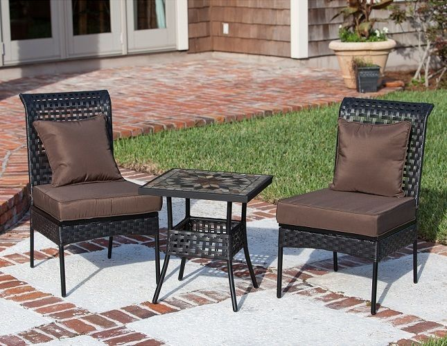 Patio Furniture Sets Outdoor Wicker Chairs Mosaic Tile Top Table