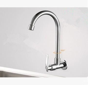 Brass Wall Mounted Kitchen Single Cold Tap Rotatable Kitchen Basin ...