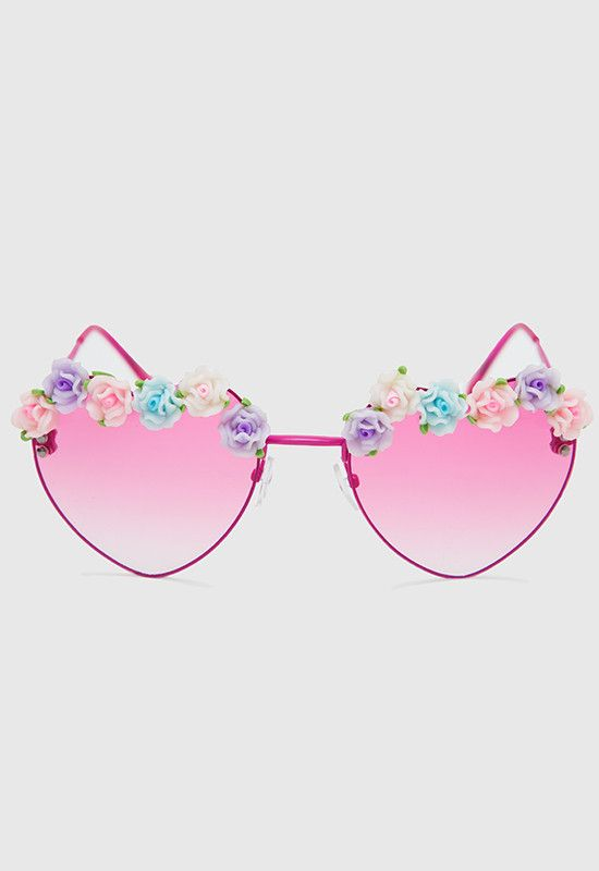 ee3c4ce13a Heart Floral Sunglasses - Pink, heart sunglasses! Can't go wrong with  these! Pink sunglasses