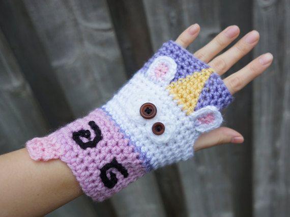 Women's Crochet Unicorn Gloves Unicorn Fingerless by HookersPalace