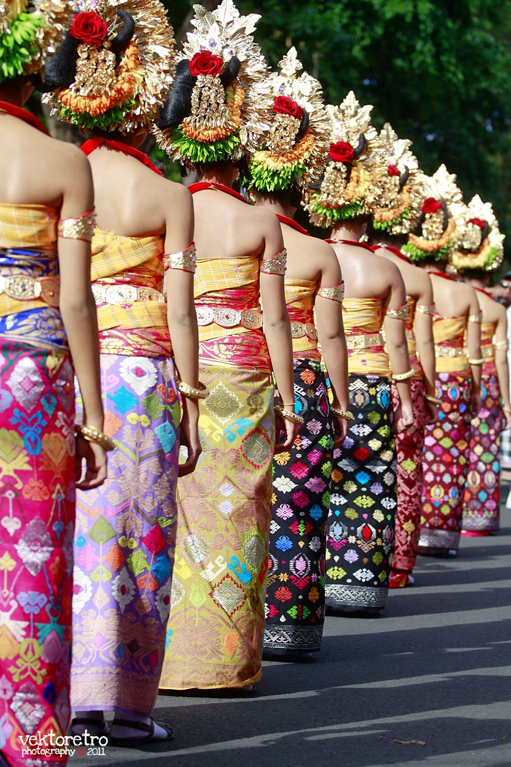 Balinese Women In Traditional Costumes And Hairstyles By