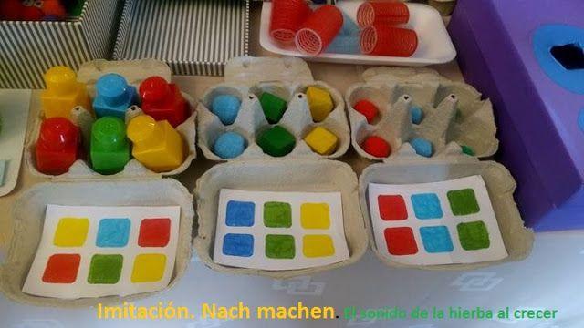 Autismus arbeitsmaterial eierkarton nach farben zuordnen for Raumgestaltung lernwerkstatt