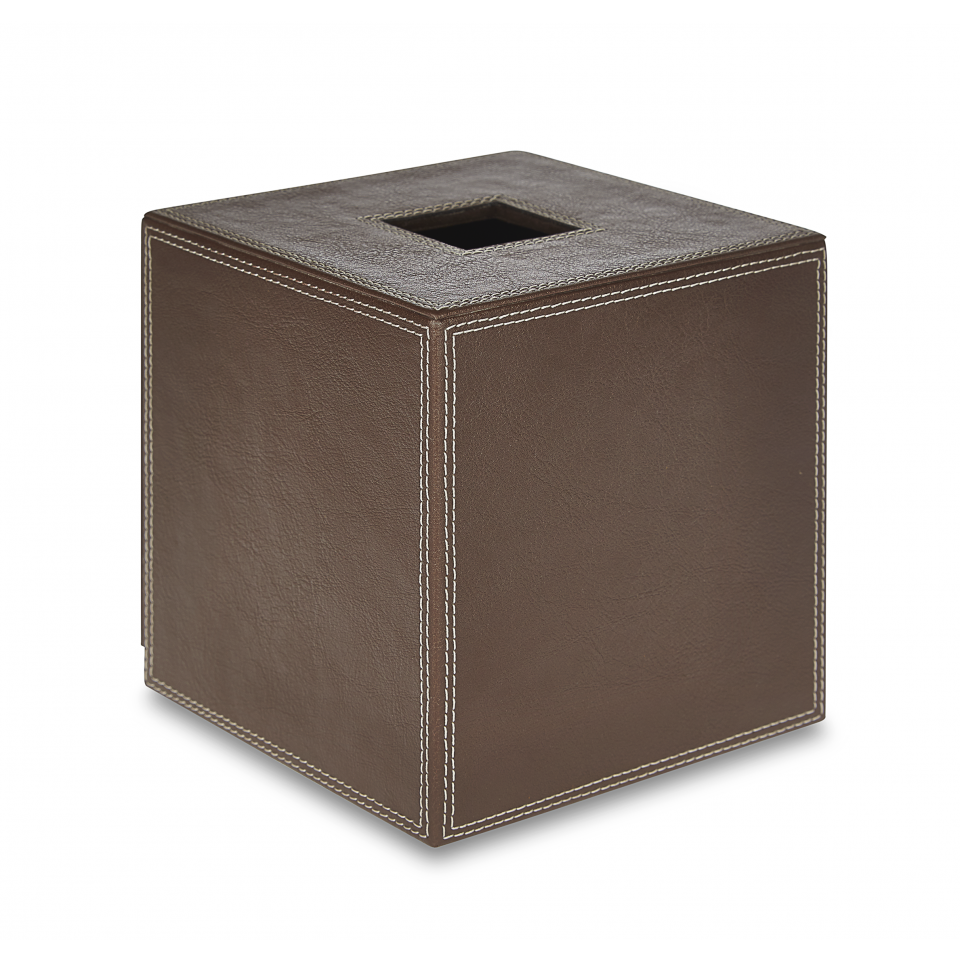 Florio Tissue Box Cover Brown Faux Leather With White Sching Homeware Household Designer Decorative Interiordesigner
