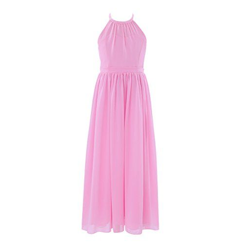 c0e5fe379431 FEESHOW Big Girl Chiffon Flower Wedding Junior Bridesmaid Dance Party Gown  Dress Pink 12 Set Include: 1Pc Dress Condition: New with tag Material:  Polyester, ...