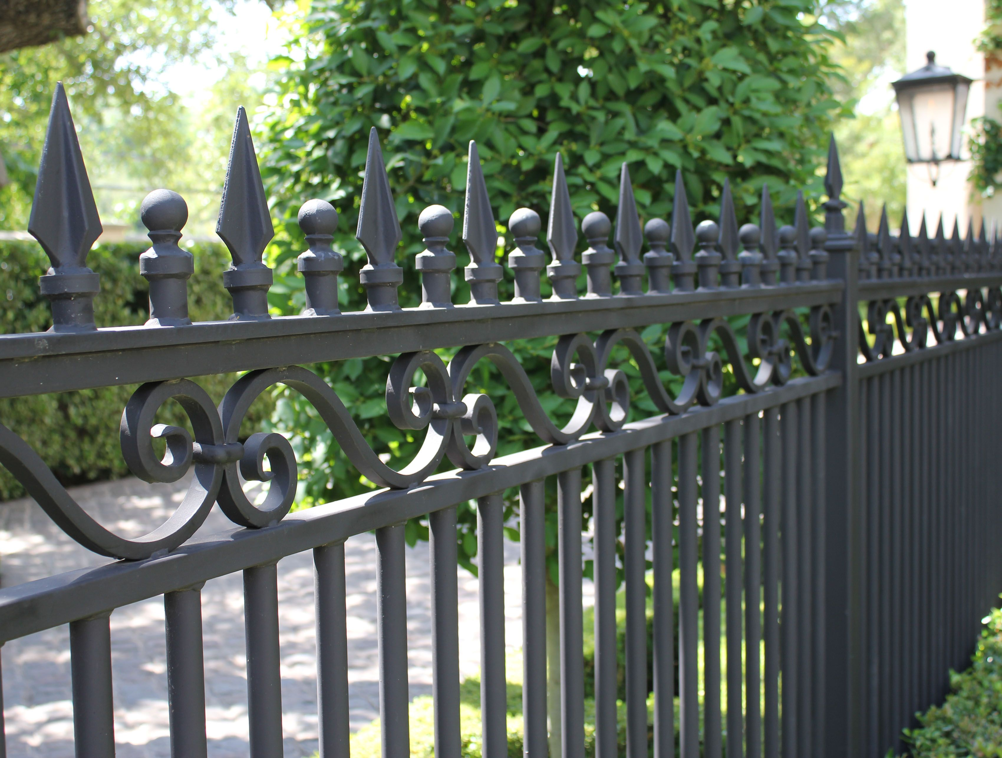 Wrought Iron Fencing With Spires Balls Round Pickets Harold Leidner Co Fence Outdoor Outdoor Structures