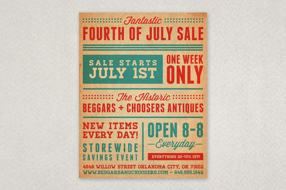Antique Summer Sale Flyer Template - An attractive text-based grid ...