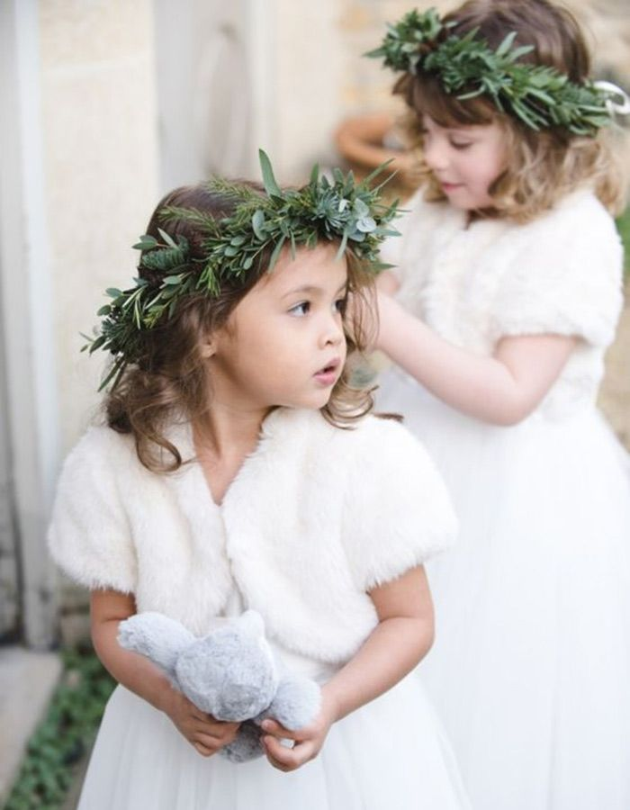Charming Faux Fur Accessories Make Such A Stylish Addition To Any Flower Girl Dress.  Paired With Greenery Crowns, Itu0027s An Easy And Stylish Ensemble For A Winter  ...