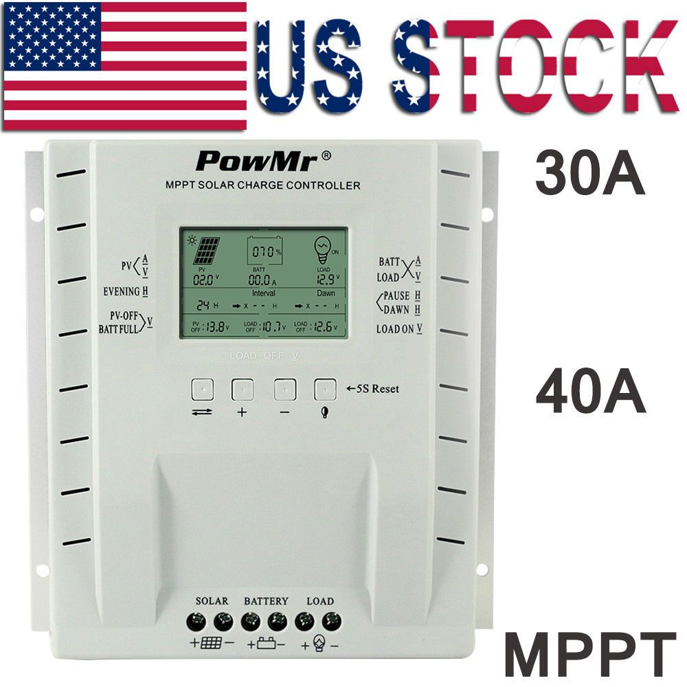 Powmr 30a 40a Mppt Solar Charge Controller Battery Regulator 12 24v Pv100v Usb Solar Battery Timer Solar Powmr mppt 60a 12v/24v/36v/48v dc 150v so. pinterest