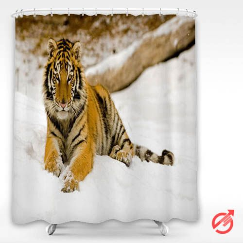 Tiger Snowy Afternoon Tiger Shower Curtain #decorative #bathroom #curtain #gift #present #favorite