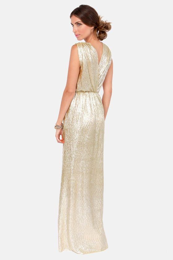 f87b6155c45 All that Shimmers is Gold Maxi Dress at Lulus.com!