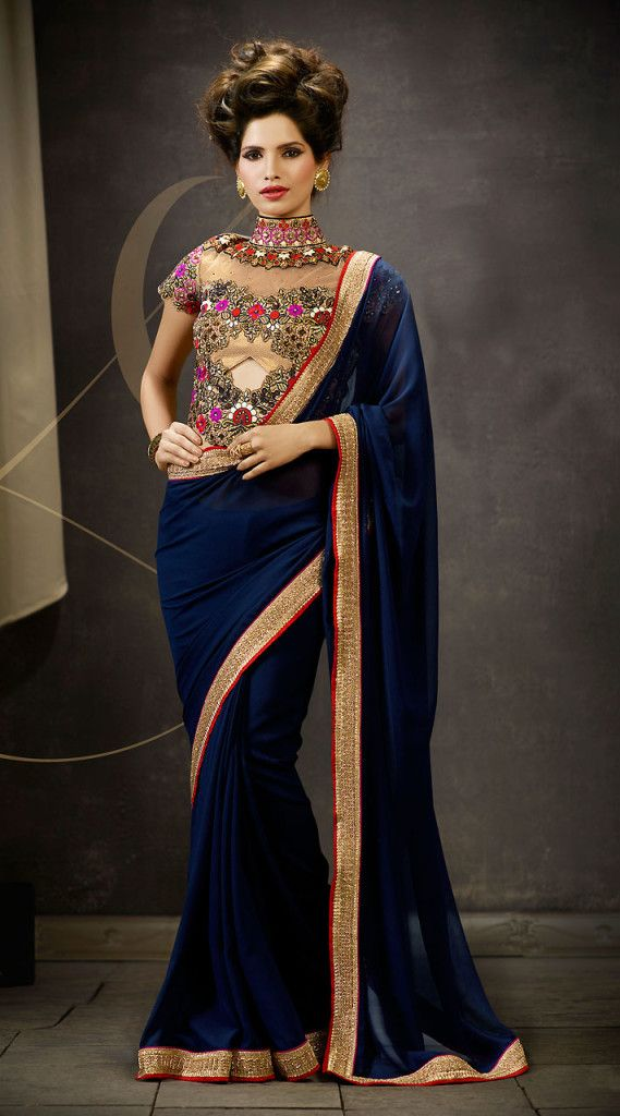 4f95da99d9e8d Marvellous Blue Beautiful Saree With Heavy Work High Neck Blouse ...