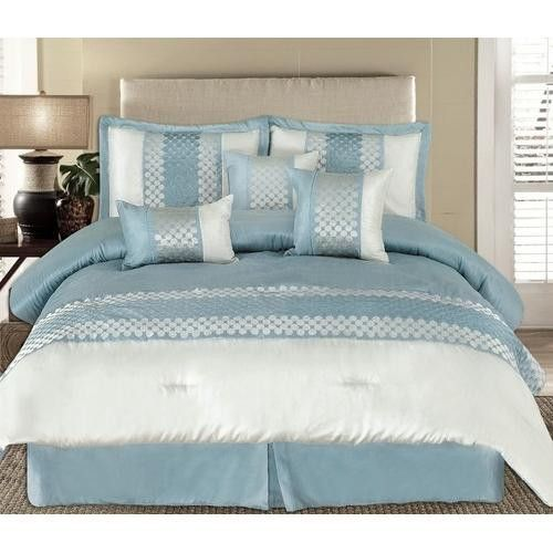 11pc Andrea Light Blue Luxury Bedding Set Size King Sheet Set Color