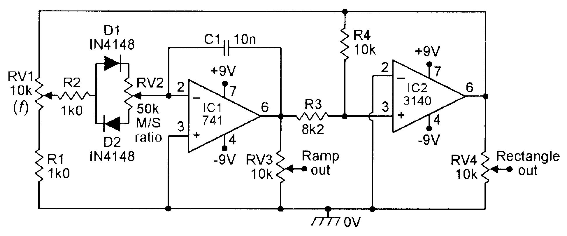 100hz 1khz Ramp Rectangle Generator With Variable Slope M