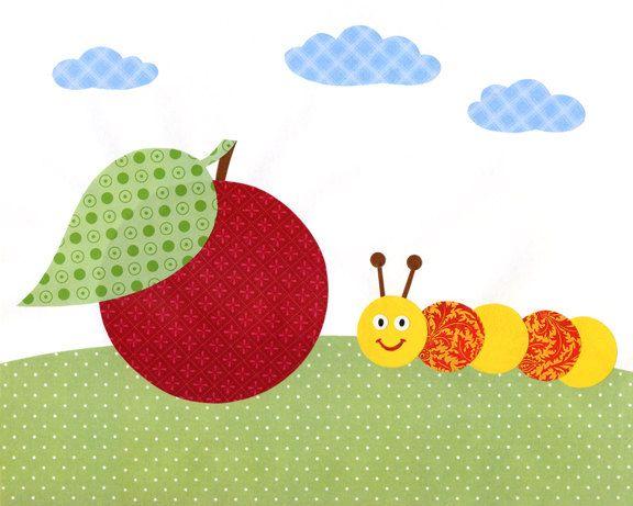 Art print of original collage for nursery or children room decor - illustration of caterpillar and apple, 8x10. $12.00, via Etsy.