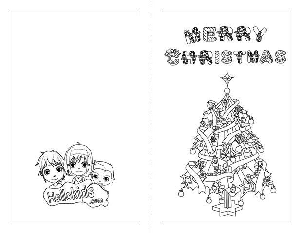 Christmas cards for kids to color