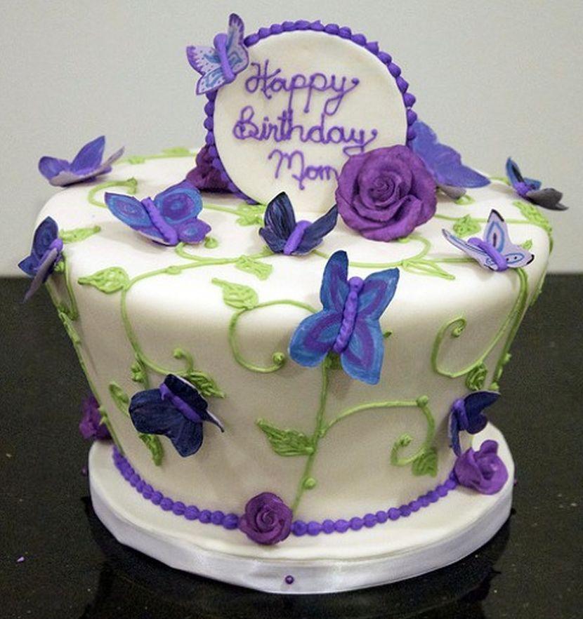 Cute mom birthday cake centerpiece with purple butterfly decorations cute mom birthday cake centerpiece with purple butterfly publicscrutiny Choice Image