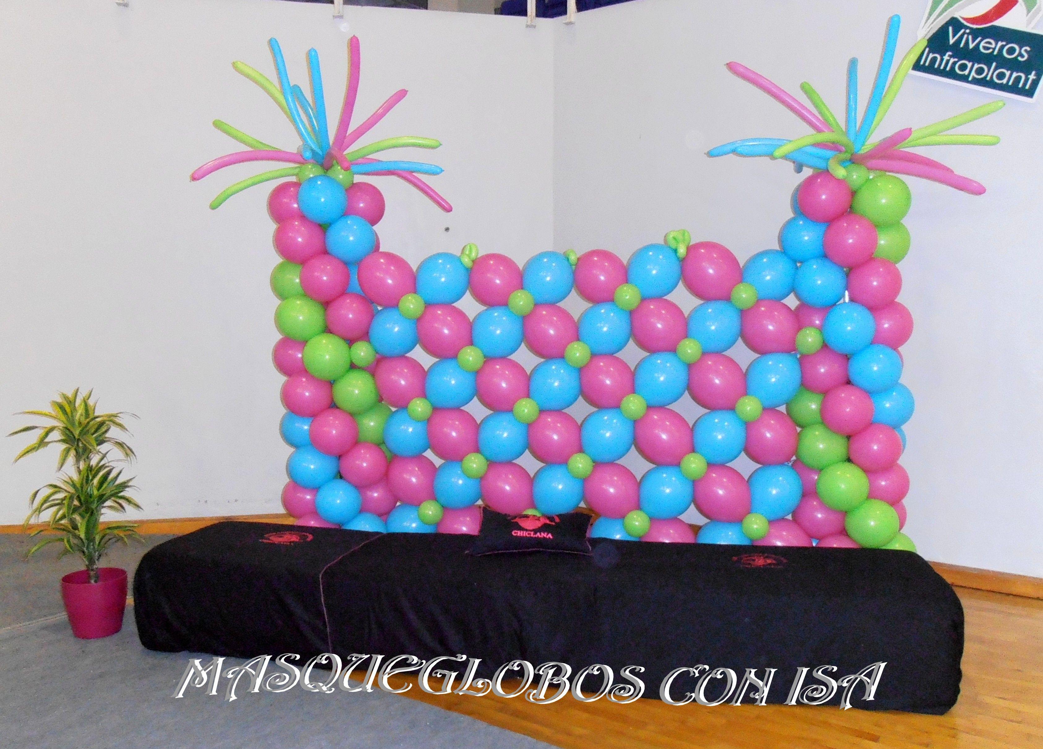 Photocall globos para un evento de gimnasia ritmica - Decoracion de photocall ...