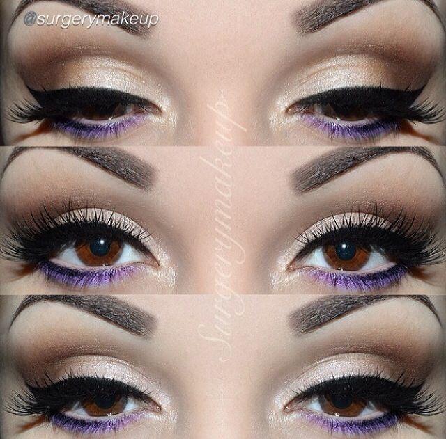 Brown and purple eyeshadow winged eyeliner