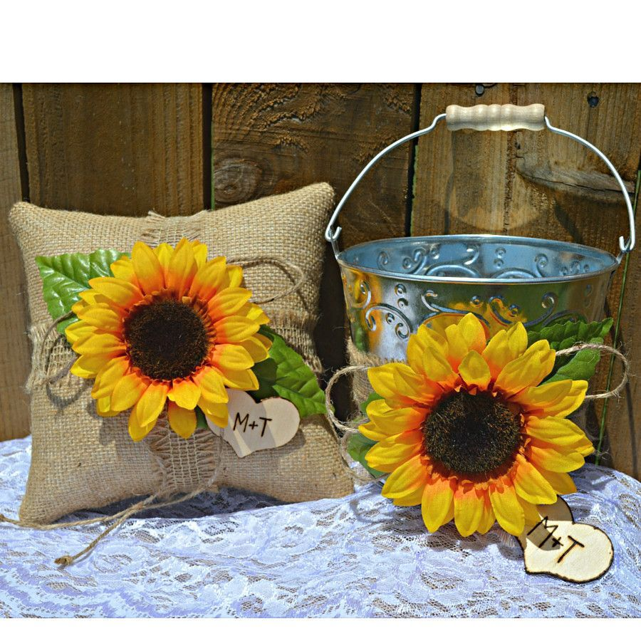 Here's a Sunflower Wedding Set with Burlap Ring Bearer