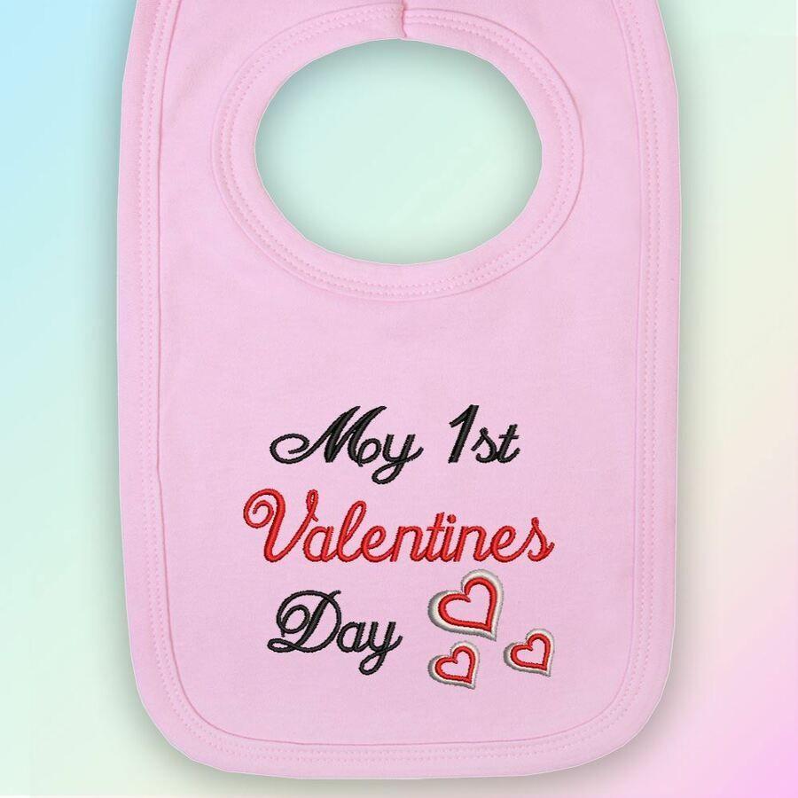 My 1st Valentines Day Embroidered Baby Bib Gift Valentine