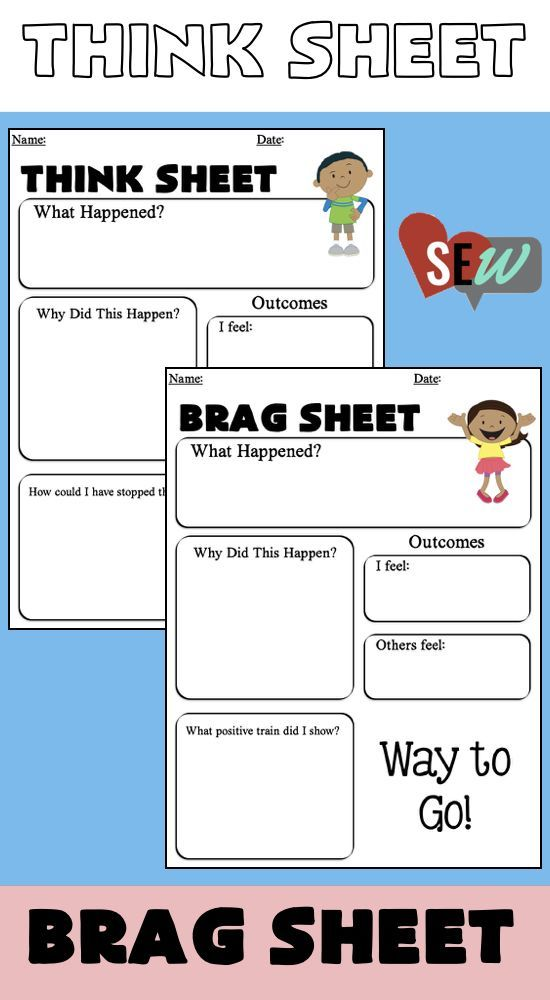 Editable Think Sheets For Positive And Negative Behaviors In The