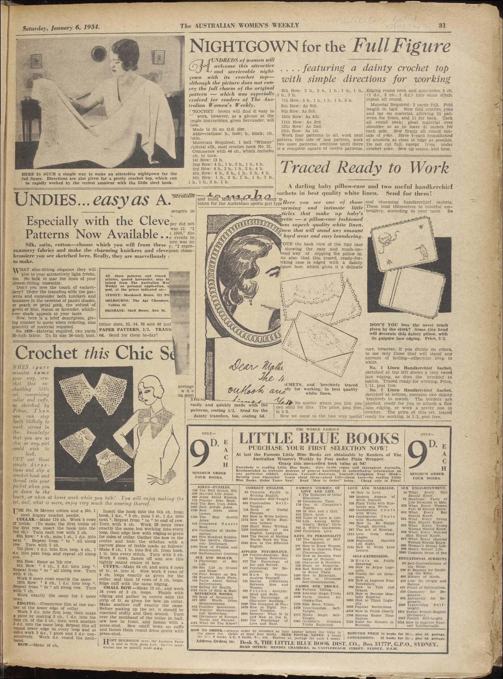 Issue: 6 Jan 1934 - The Australian Women\'s Week... | Classique Purls ...