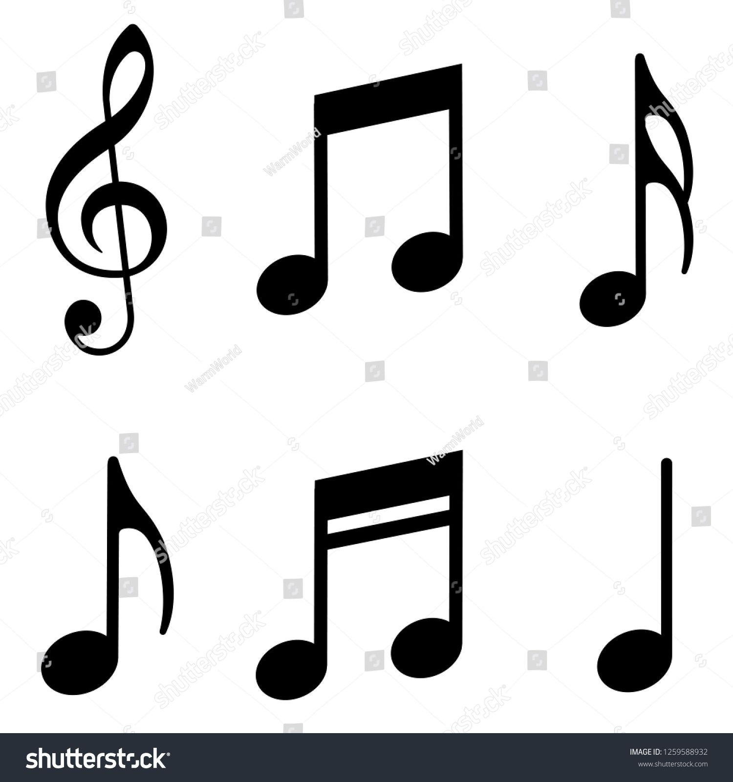 Music notes icons set. Vector illustration Sponsored ,
