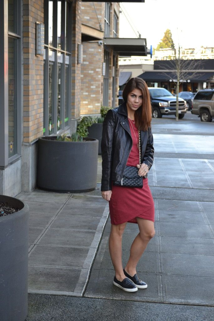 leather jacket, slip ons, dress | fishbowl fashion