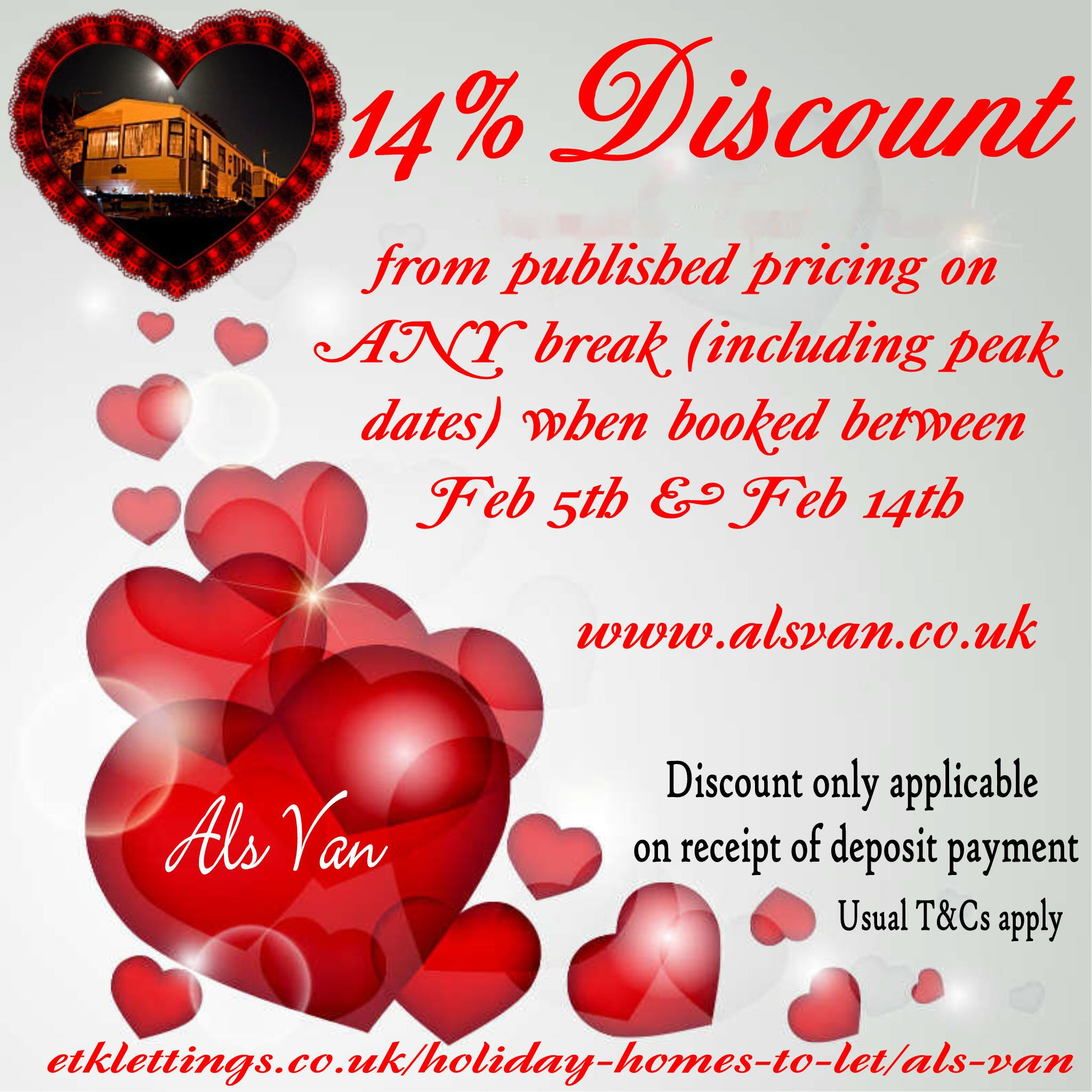 Grab a romantic 14% discount from any break booked between Feb 5th & Feb 14th (INCLUDING PEAK DATES!).   Fabulous Static Caravan Holiday offer from our very own Als Van, Park Resorts, Ashcroft Coast.  Don't delay... book today.