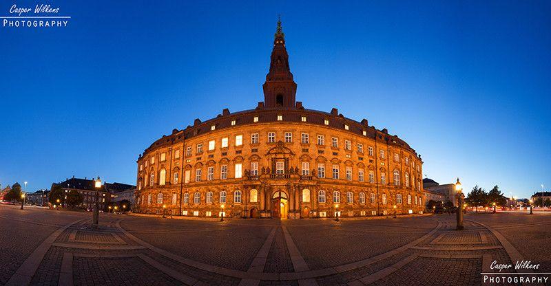 """Christiansborg Castle 1"". The Danish parliament (Folketinget or Christiansborg slot) in Copenhagen at sunset."