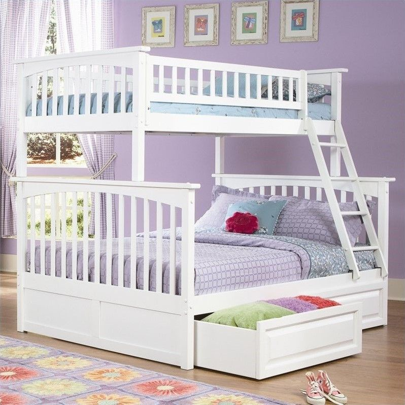 White Full Over Queen Bunk Bed With Staircase And Drawer