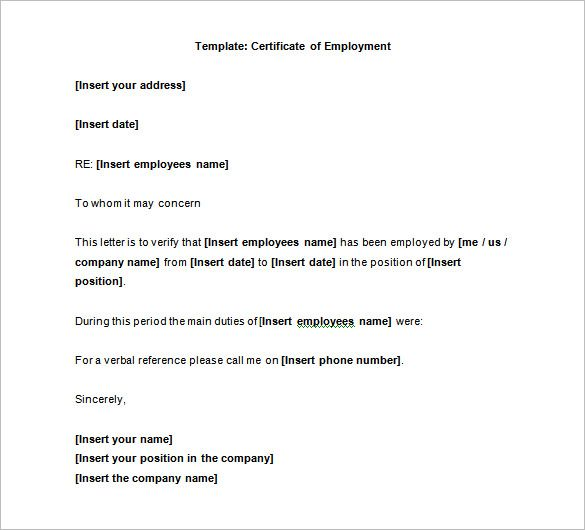 40 Employment Certificate Templates Pdf Doc Letter Sample