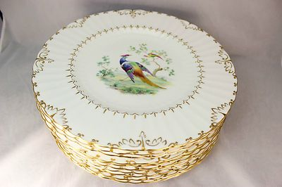 ROYAL CROWN DERBY CHINA LOWESTOFT PHEASANT A964 SET 12 DINNER PLATES GOLD WHITE : ebay china dinnerware - pezcame.com