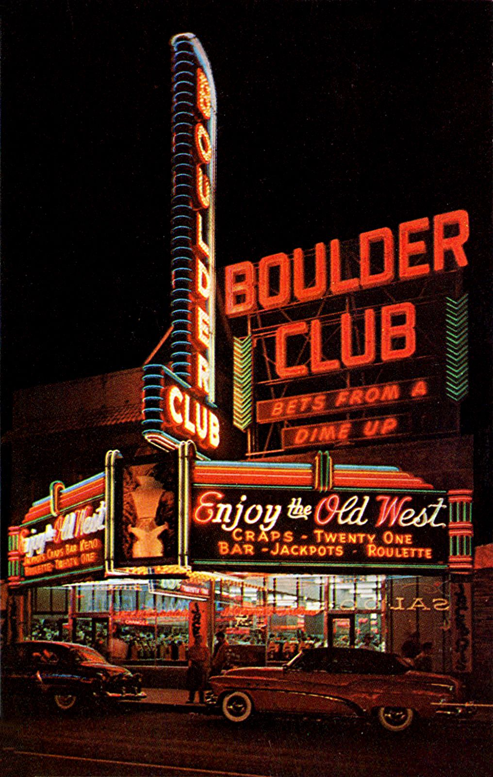 Boulder Club seen here in the early 1950s  Neon signs