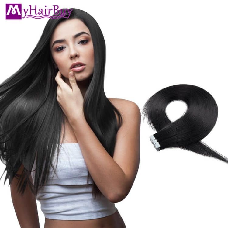 1 Jet Black Tape In Human Hair Extension Wholesale Price Human