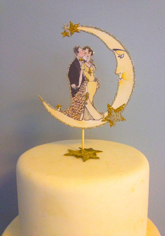 Art Deco Wedding Cake Topper Custom Hair by JolieEnRoseVintage ...