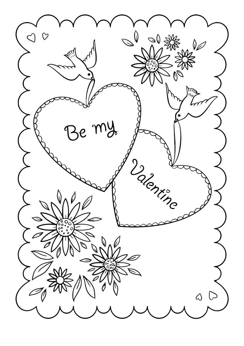 Happy Valentine S Day Coloring Book For Adults Kids 50 Printable Coloring Pages Valentine S Day Coloring Pages Pdf Instant Download In 2021 Printable Valentines Coloring Pages Valentines Day Coloring Page Valentine Coloring Pages