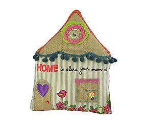 Cojín de patchwork Casa – 35x20 cm