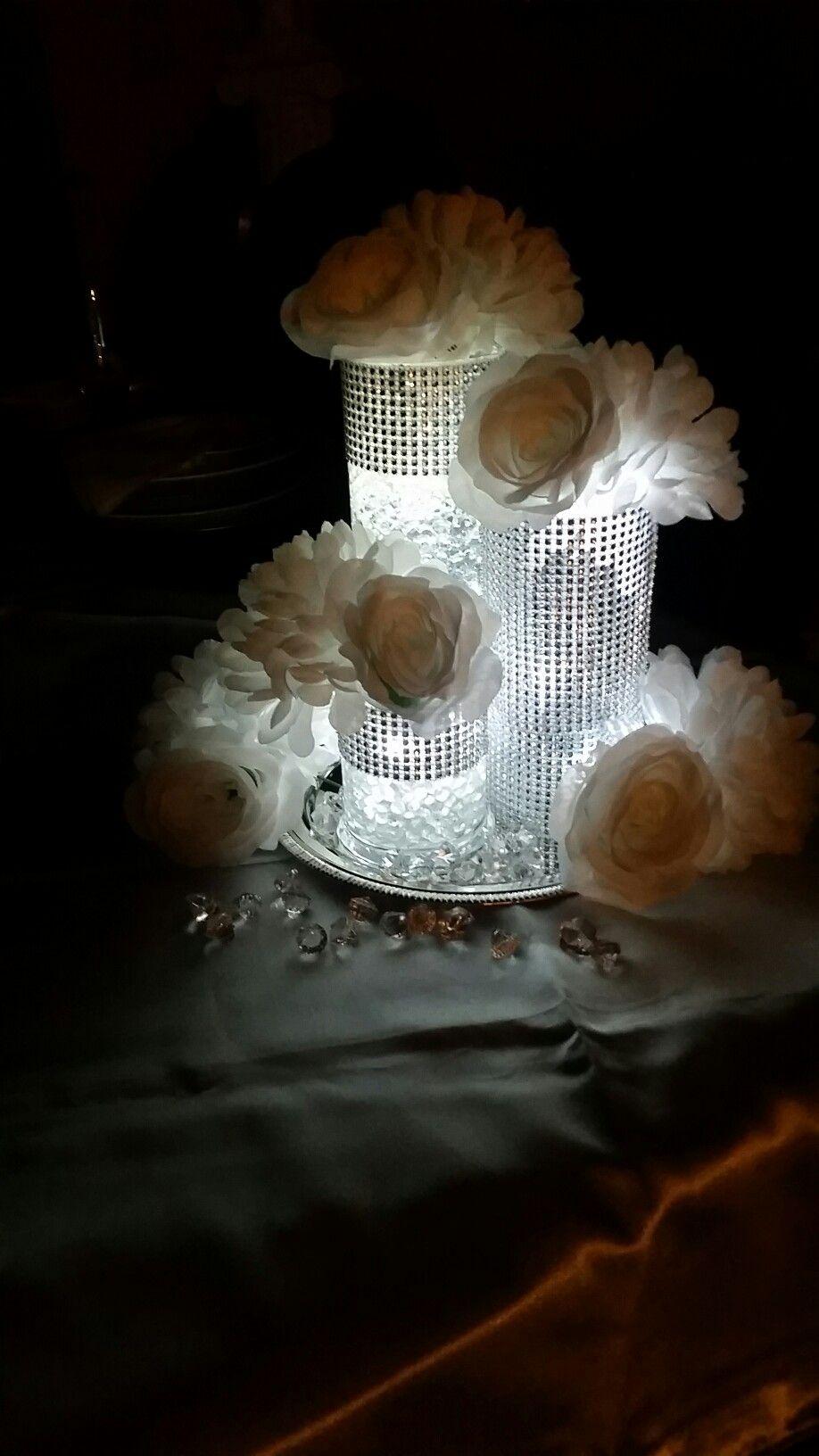 Lightef centerpieces wedding bling