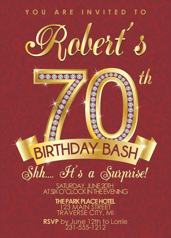 Milestone Birthday Invitation Surprise 70th Birthday Invitation
