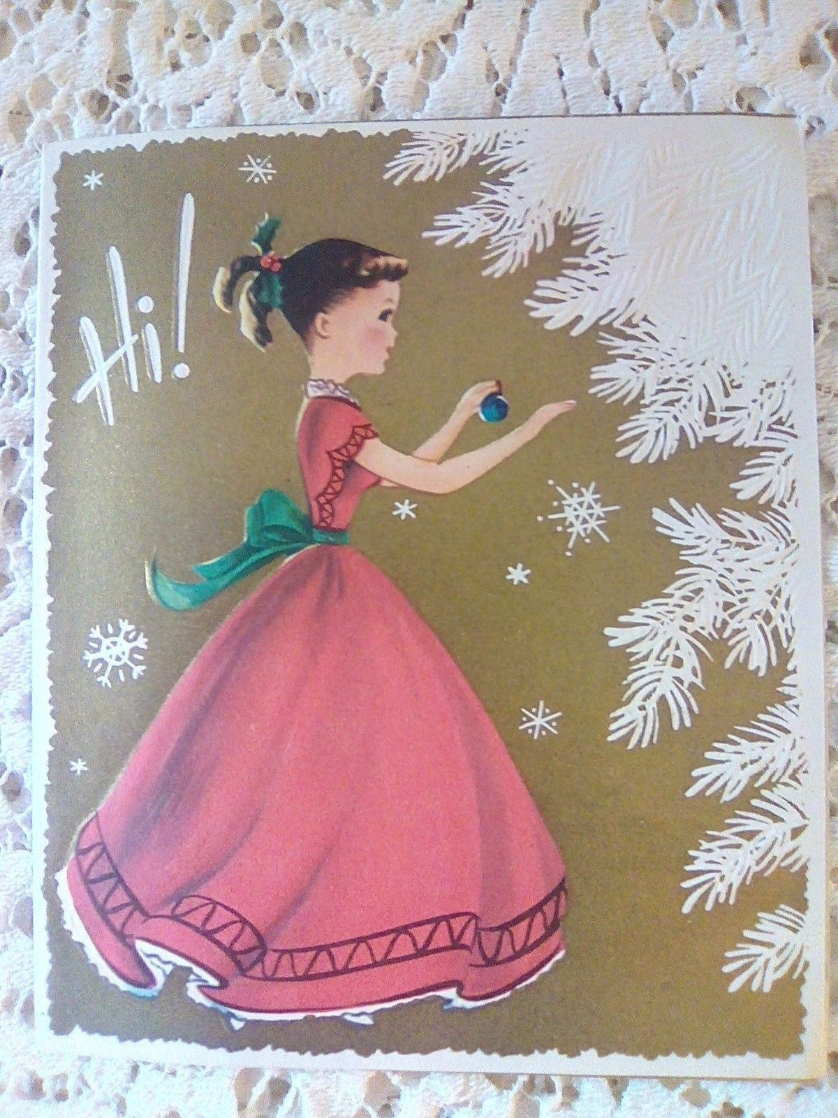 Vtg CHRISTMAS Pony Tail Girl Hangs Ornament on Tree Pollyana Greeting CARD FOR SALE • $4.99 • See Photos! Money Back Guarantee. Vintage Pollyana Christmas card, Hi, girl in red dress hangs ornament on the white tree. The card measures about 5 3/4 x 4 3/4 inches, used, signed, tiny corner bend. 252567262719