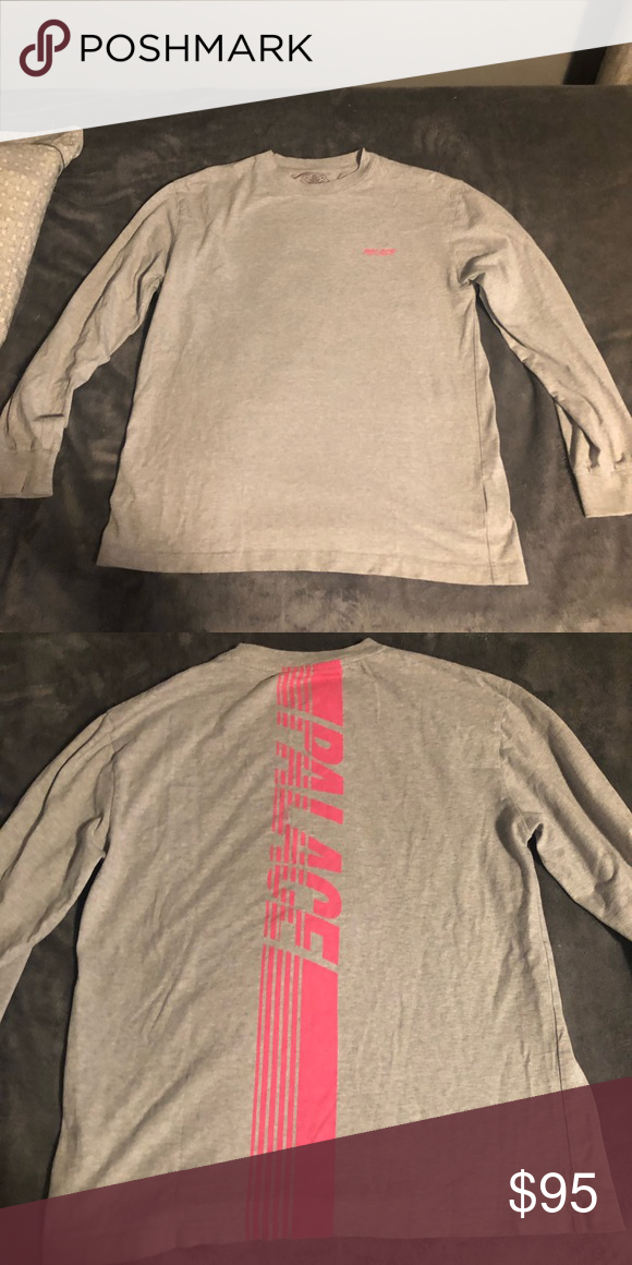 894057d3547c Men s palace Long sleeve t shirt men great condo!! Grey and pink No stains